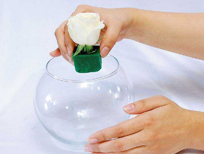 put white rose into the clear vase