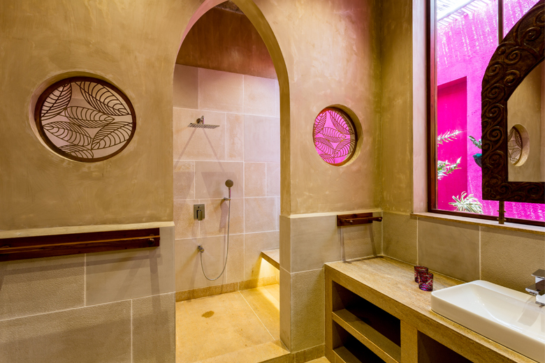 pink stainglass powder room