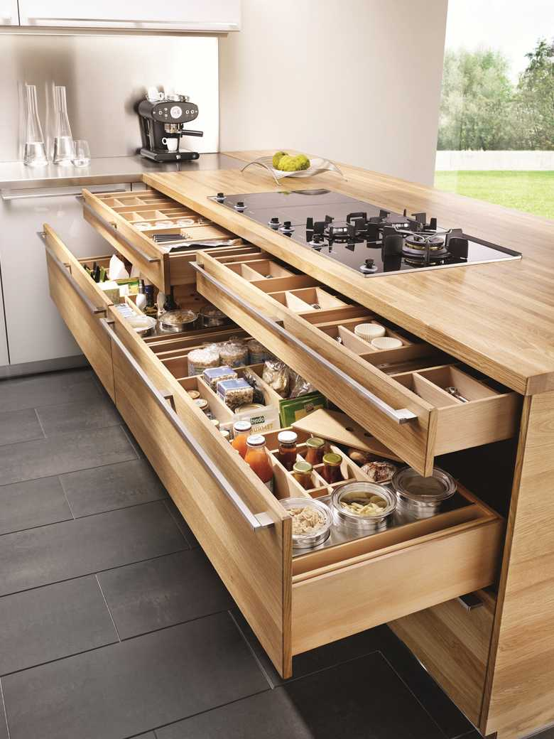 Storage space-long wooden kitchen trolley