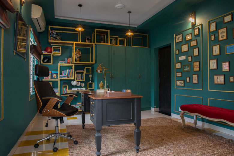 Green study with yellow decor