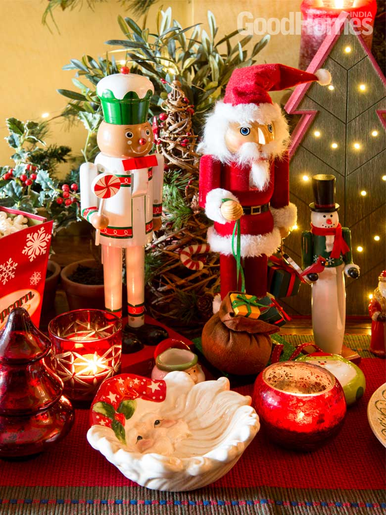 Wooden ornaments with santa