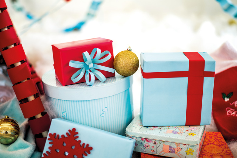 Gift boxes with blue and red wrapping paper