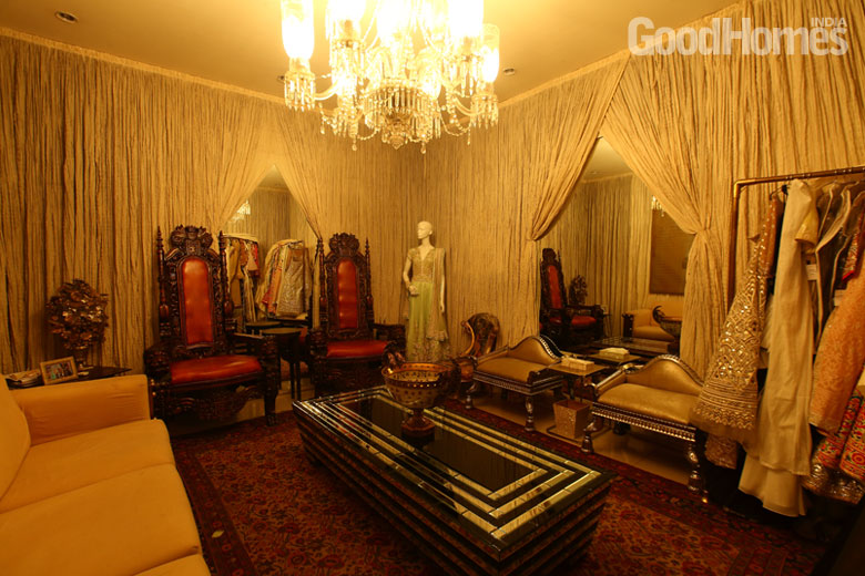 Room decorated with drapes and royal furniture