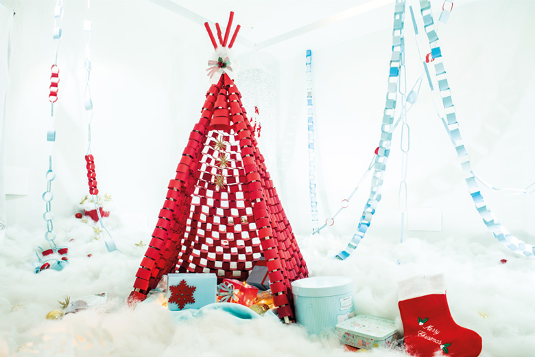 Red wrapping paper teepee christmas tree