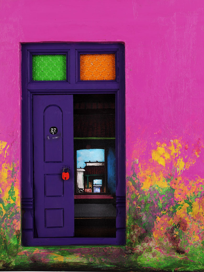 purple and pink door