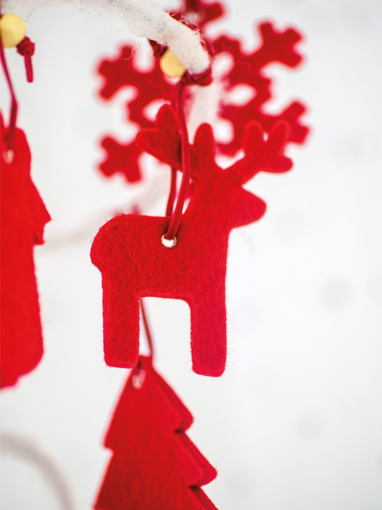 Red felt reindeer ornaments
