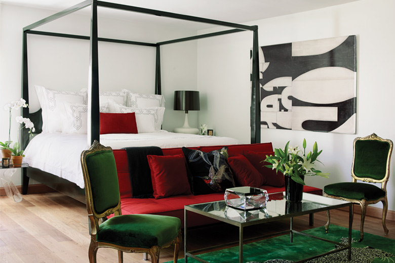Emerald and ruby inspired bedroom by Designer Katie Scott
