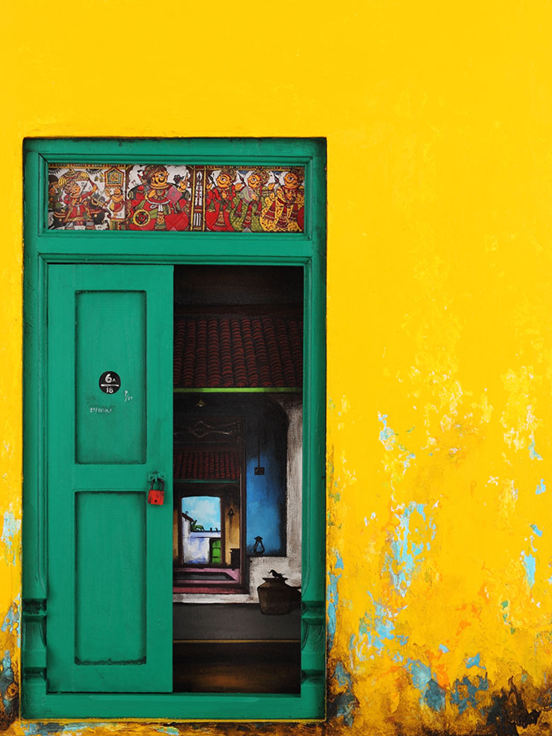 Yellow and green door
