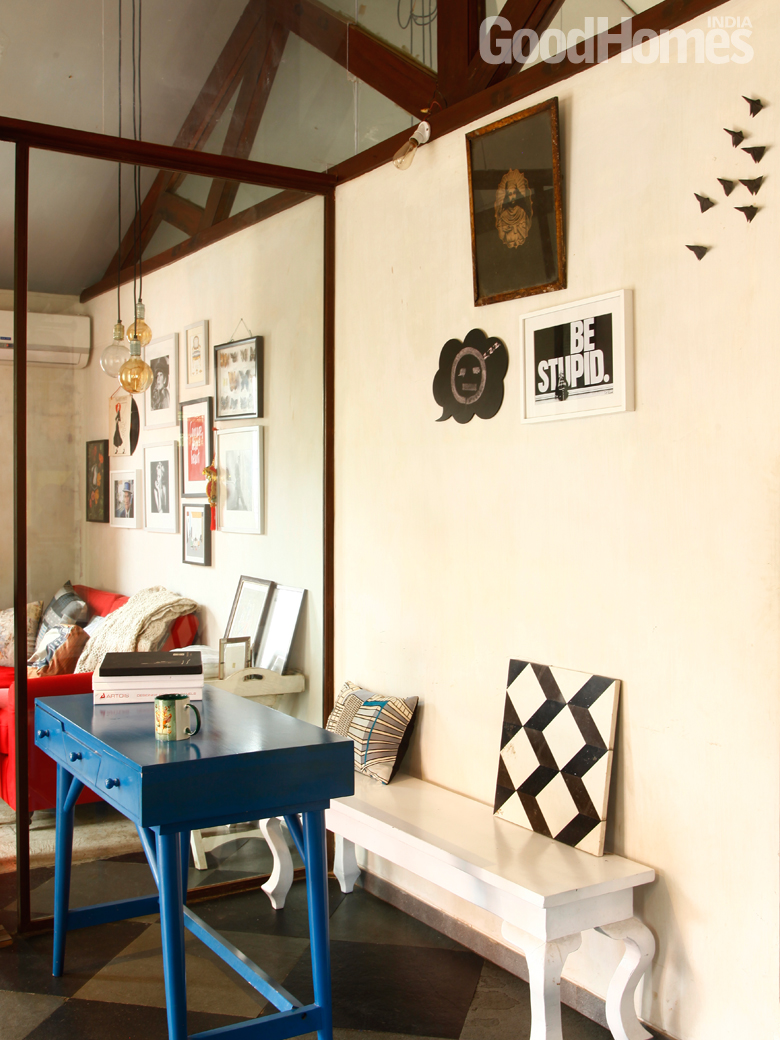 Blue table in an old bandra bungalow