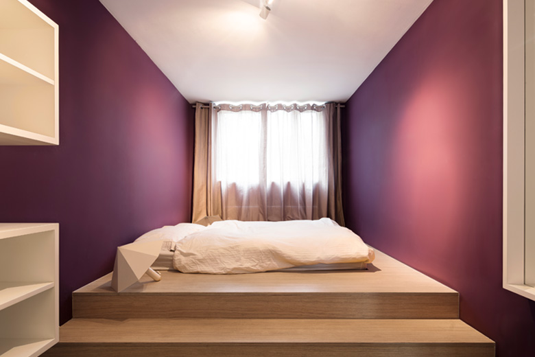 Purple small bedroom