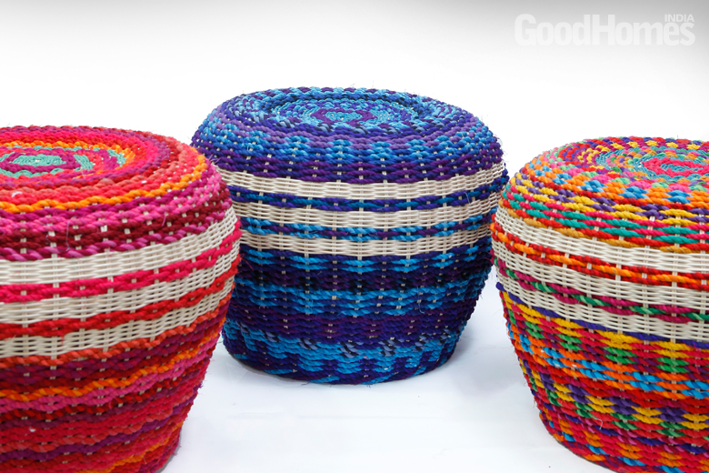 Coloured pouffes