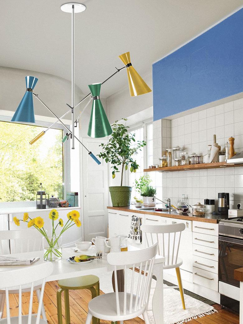 Blue and white kitchen