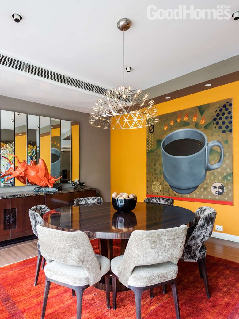Dining Room with yellow wall