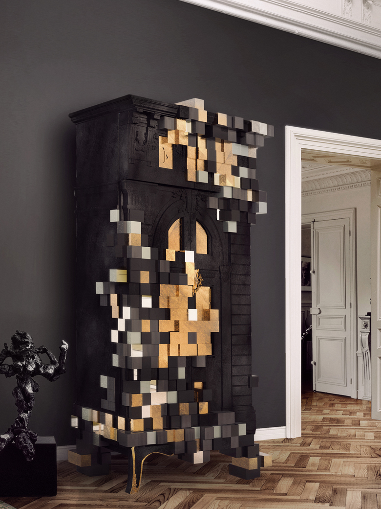 black and gold cabinet