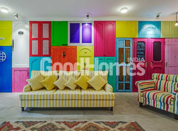 Colourful and quirky living room