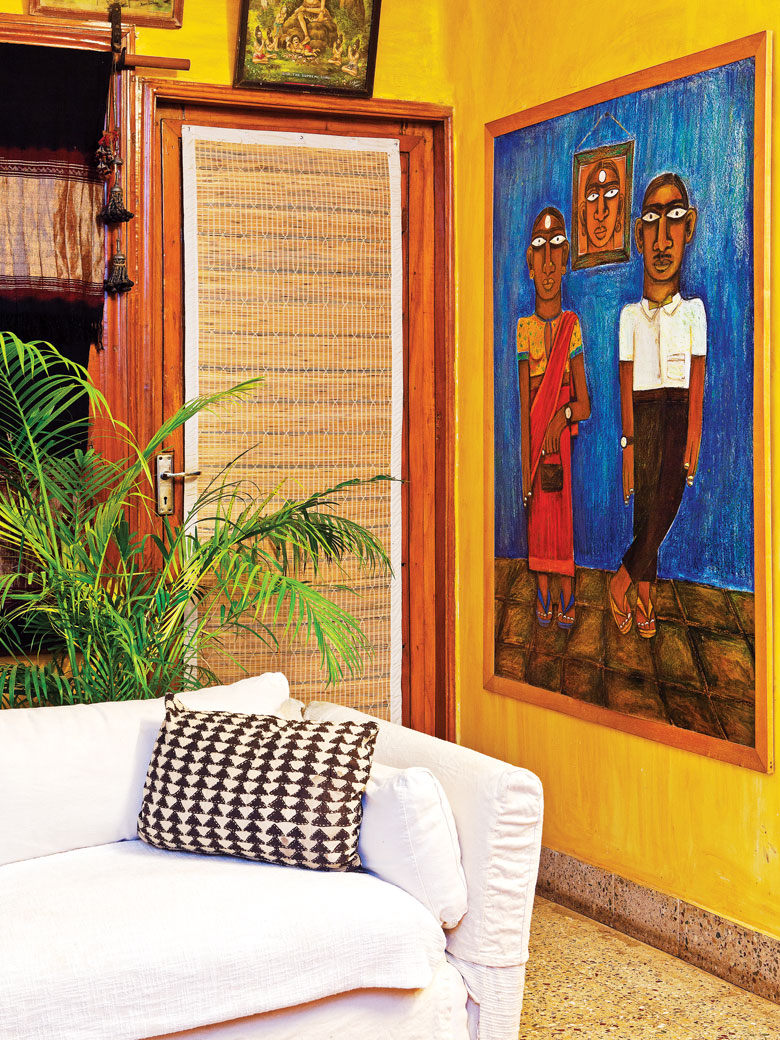 Yellow wall in Artist Nilofer's home