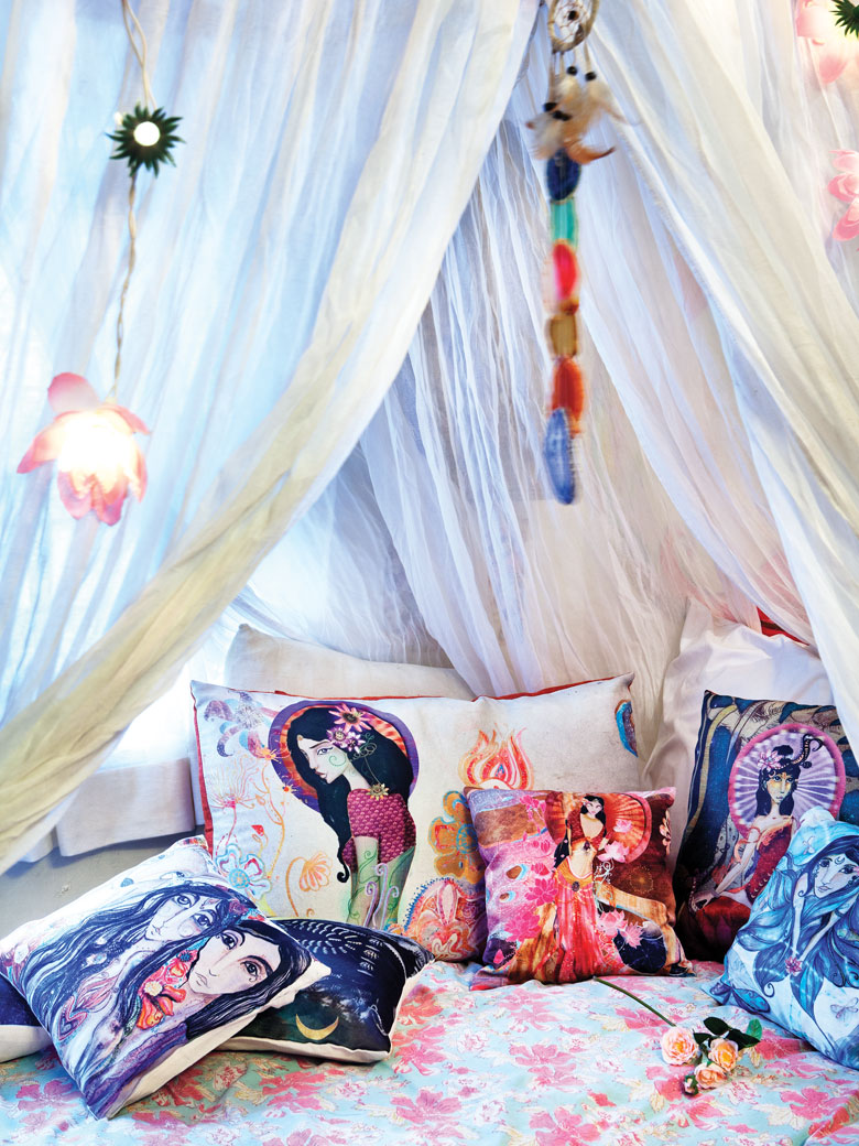 Colorful cushions in Artist Shilo Shiv Suleman's home