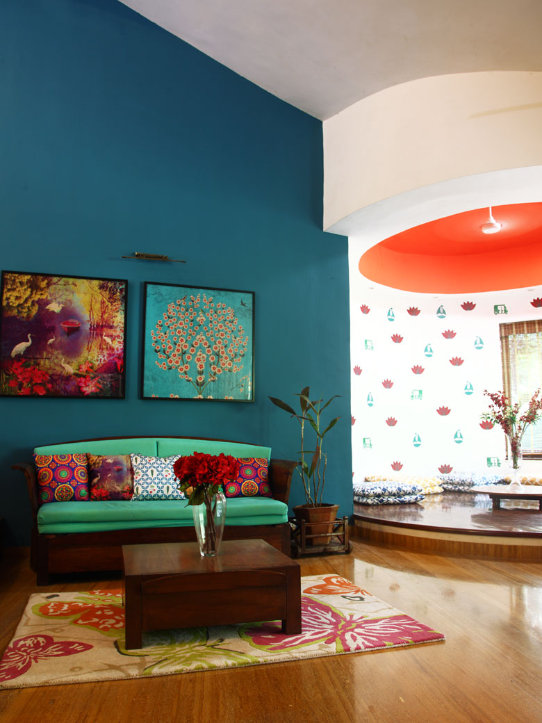 Blue Wall in Alibaug home