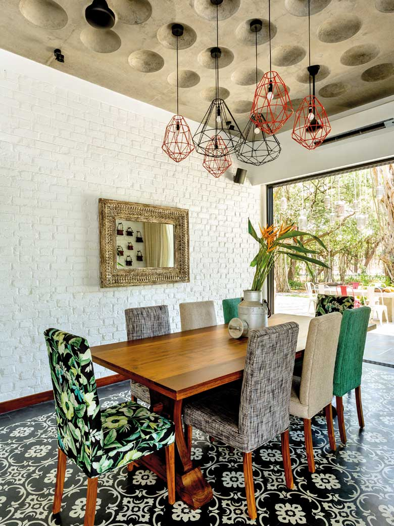 Hanging Lamps with printed chairs