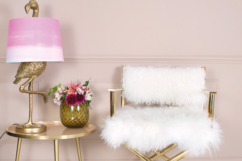 Ostrich shaped lamp and fur lined chair
