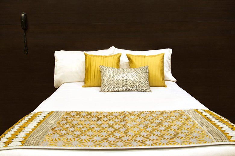 glam touch silver yellow pillow bed accessories