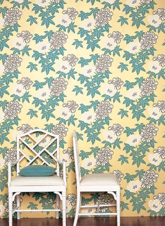 Fabric floral wallpaper