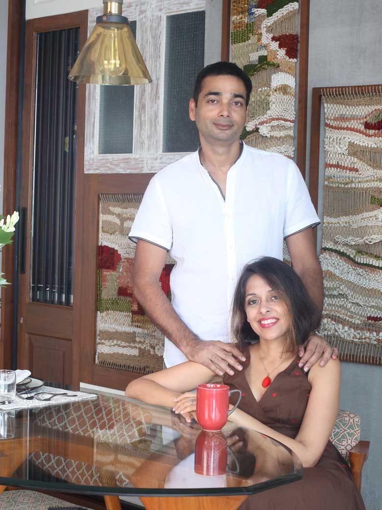 Owners Priya and Manish in their Mumbai home