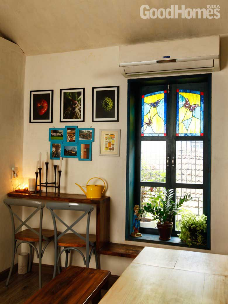 Window wall decor with stained glass
