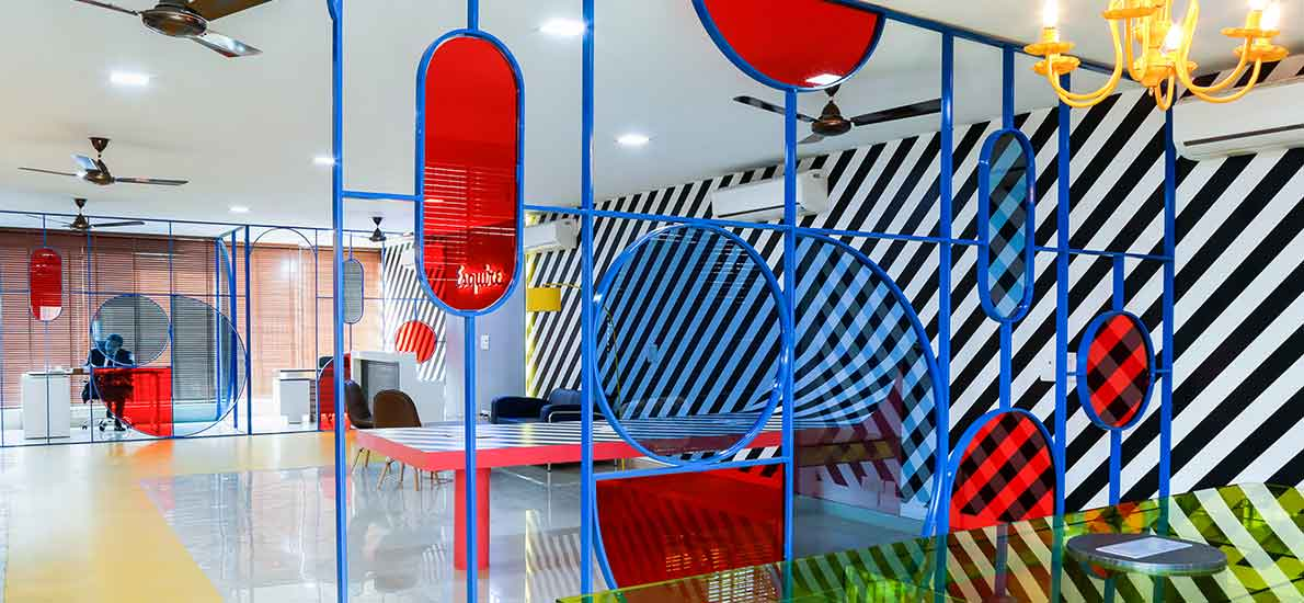 This quirky office uses colours and patterns to its advantage