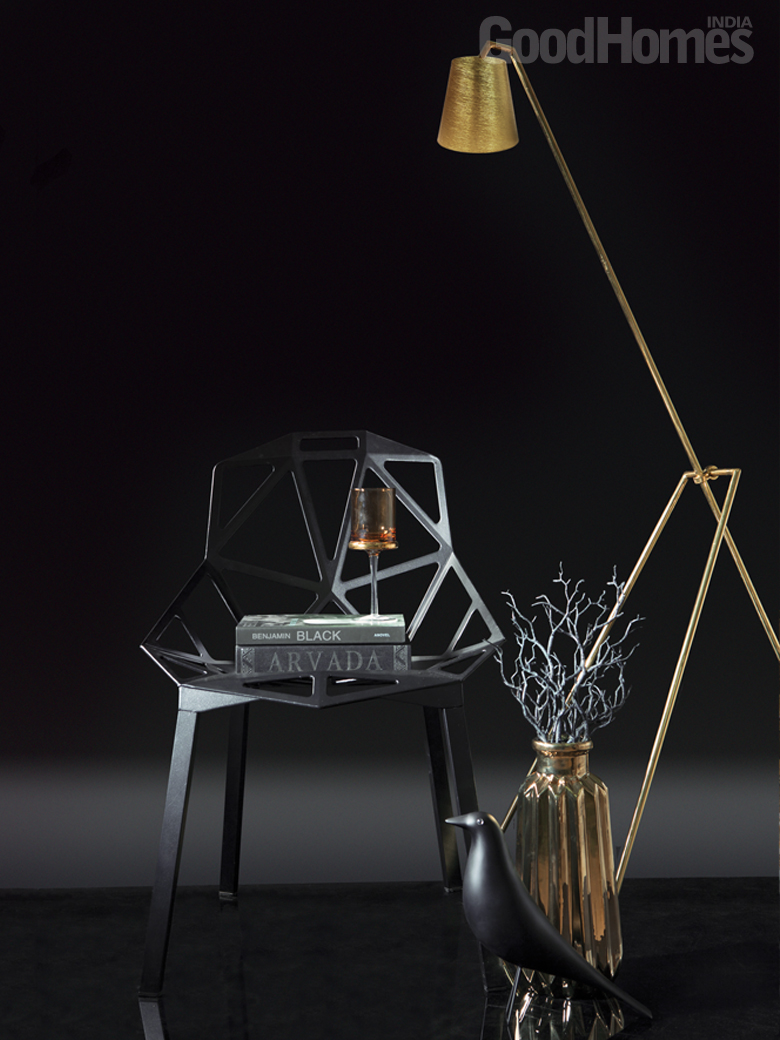 Black & Gold Chair & Lamp
