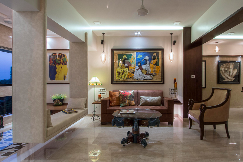 Living room area in Architect Dipa Desai's home