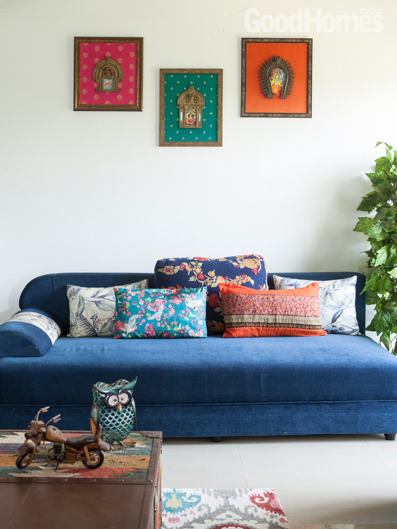 Cozy Sofa with Wall Art