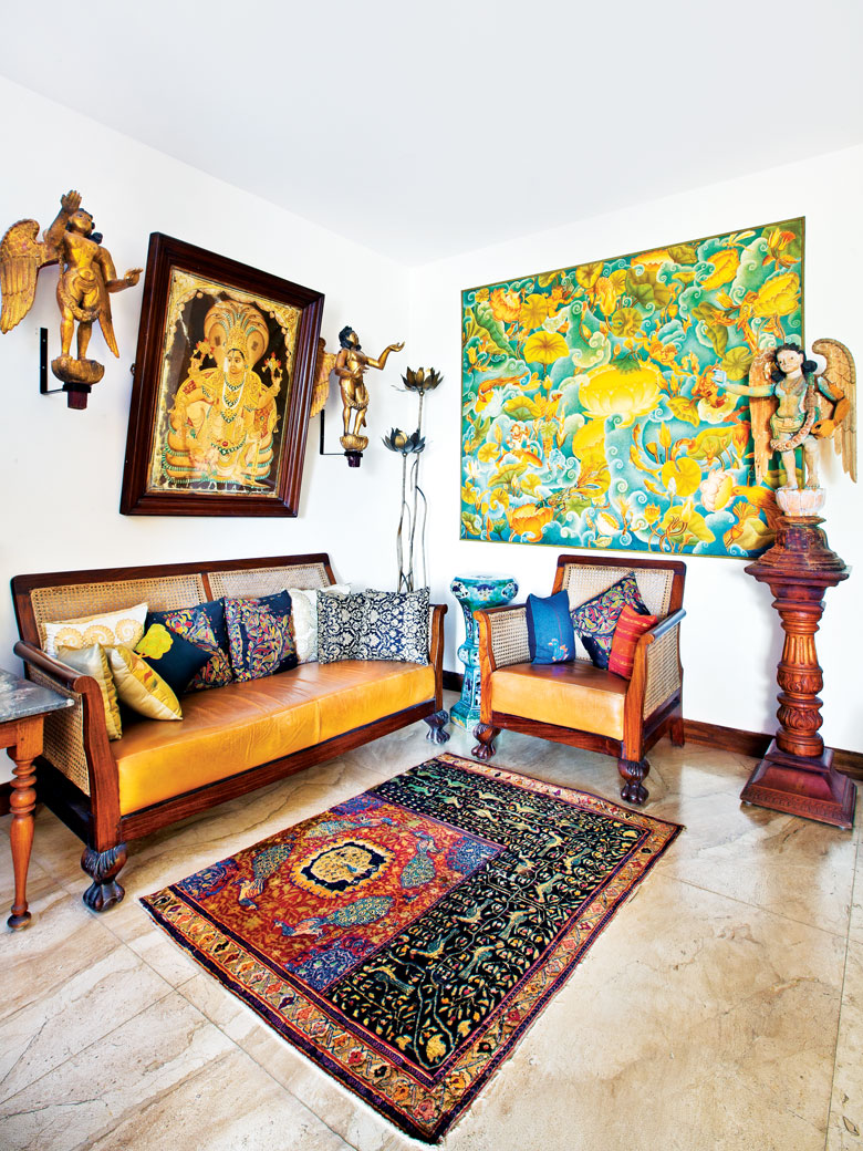 Rugs in the living area in Venkat Raman Reddy's home