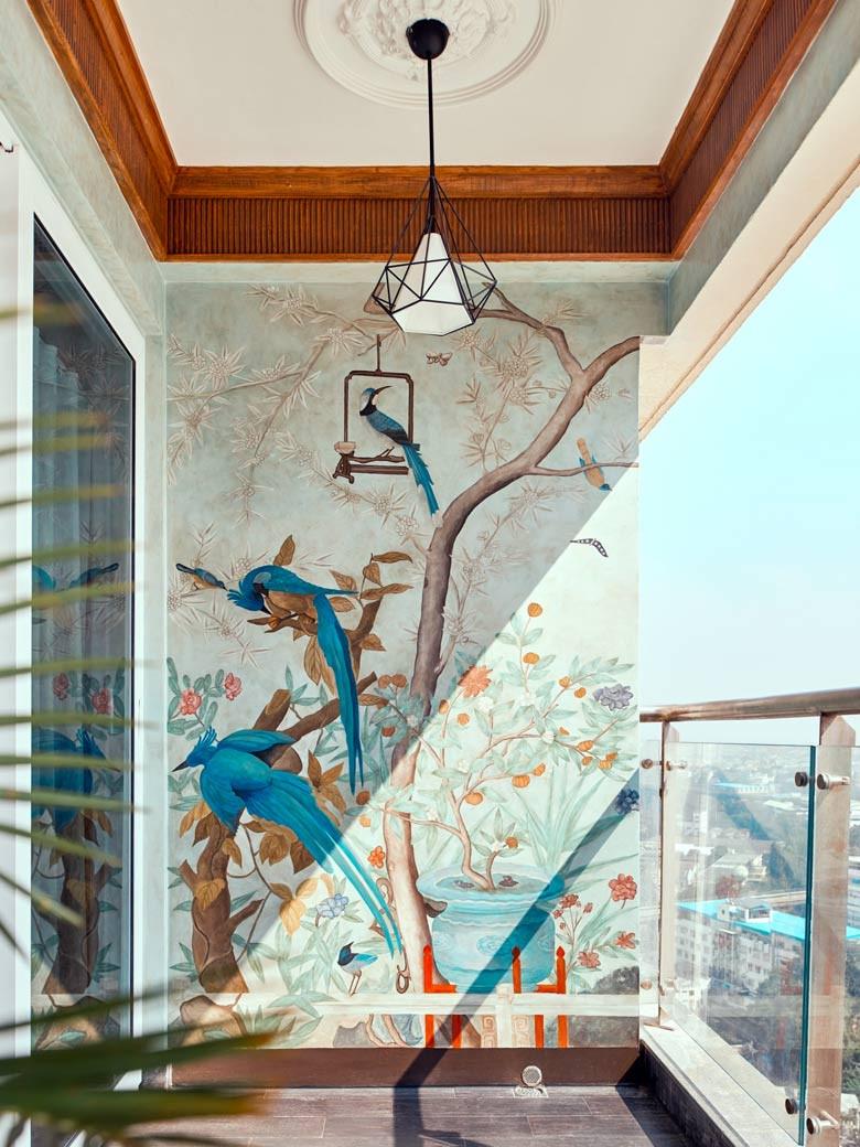 Mural on balcony wall