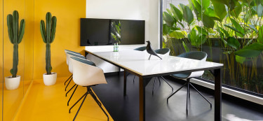 This Calicut workspace basks in head-to-toe yellow