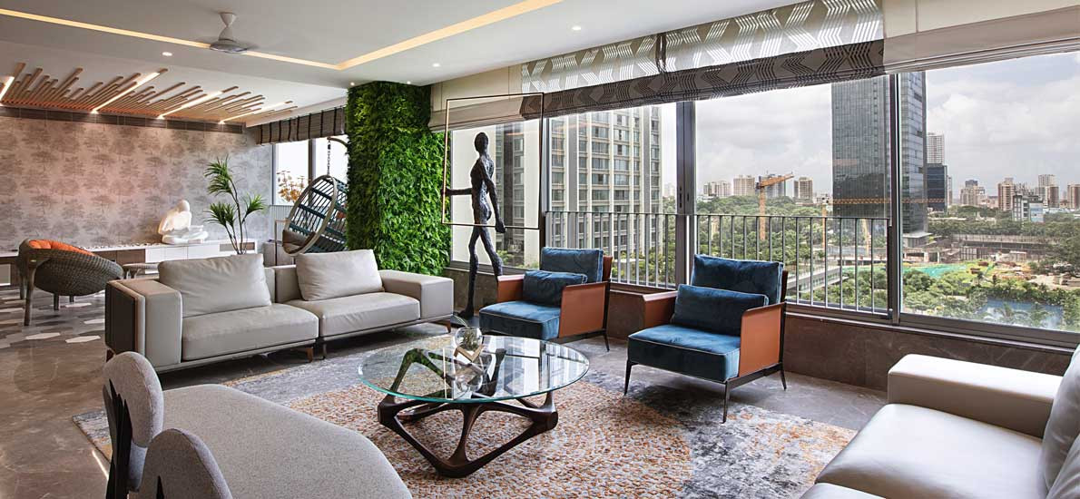An alfresco patio is part of the living room in this lavish apartment