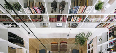In this Madrid Home, a Bookshelf takes the Centrestage