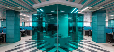 Vibrant graphics and colours uplift this tech office